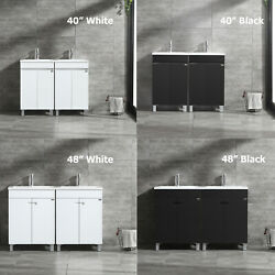 40/48 Double Sink Bathroom Vanity Cabinet Mdf Wood With Faucet Set White/black