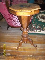 Antique Octagon Burl Wood Inlaid Sewing Table / Stand