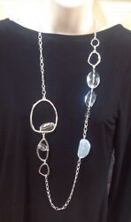 Chicoand039s And039camiand039 Gorgeous Bold Silver Link And Clear Beaded Long Necklace-58-nwt