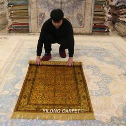 Yilong 3'x5' Golden Handmade Carpets Antique Bedroom Hand Knotted Silk Rug G65ab