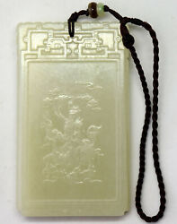 Vintage Detailed Chinese Hand Carved Celadon Nephrite Jade Pendant 75mmx43mm