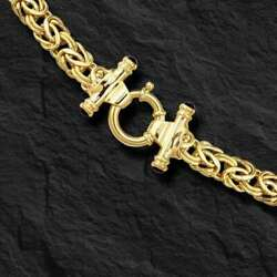 14kt 18 Yellow Gold 8mm Byzantine Fancy Necklace With Spring Ring Clasp 20 Gr