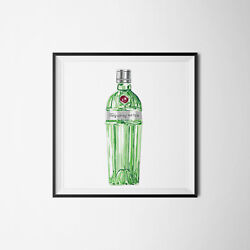 Tanqueray No 10 Gin Bottle Digital Illustration Wall Art Print Picture