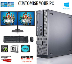 Dell Gaming And Dual Screen I5 / I7 Desktop/tower Pc Win 10 16 Gbgt-1050 Ti 4gb