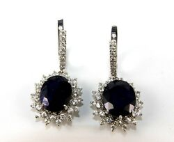 Natural Oval Blue Sapphire And Diamond Drop Snap Earrings 14k White Gold 16.95ct