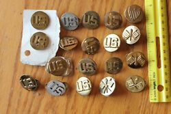 Us Military Pin Lapel Army Lot Of Ranking Vintage Signal Corps Collar Insignia