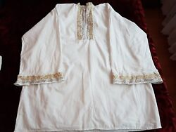 Mens Vintage Hand Embroidered Romanian Shirt With Golden/silver Metallic Thread