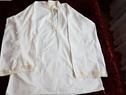 Mens Vintage Hand Embroidered Romanian Blouse Silk Embroidery