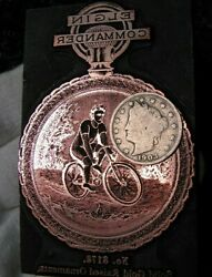 Wow C.1900 Elgin Pocket Watch Printing Block/antique L.a.w.bicycle/superb/offset