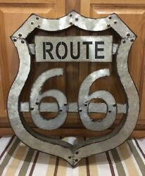 Route 66 Americas Highway Shield Tin Bar Wall Decor Large Garage Man Cave