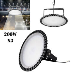 3X 200W UFO LED High Bay Light Slim Warehouse Industrial Shed Commercial Lamp US