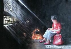 """""""studying By The Fire"""" By Zhang Xing. Original Oil Painting On High Quality Bur"""