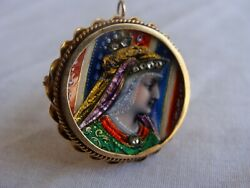 18k Yellow Gold French Lemoges Enamel And Diamond Pendant Brooch Circa 1880and039s