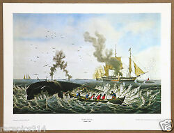 Currier And Ives The Whale Fishery Vintage Original 1960 1st Print Ltd Ed Litho