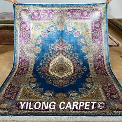 Yilong 5.5'x8' Classic Silk Rugs Quality Hand Knotted Floor Carpet Handmade 0229