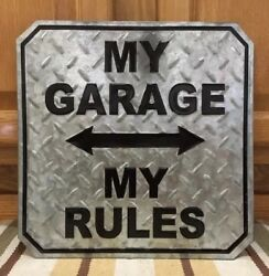 My Garage My Rules Embossed Metal Man Cave Decor Pub Bar Tools Chevy Ford