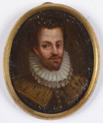 Portrait Of A Nobleman, Spanish Oil On Copper Miniature, Early 17th Century