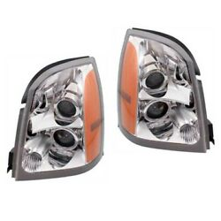 04-09 SRX Front Headlight Headlamp Halogen Head Light Lamp w/Bulb Set Pair