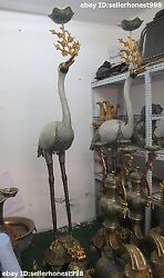 Huge China Royal Bronze Cloisonne Cranes Dragon turtle Candle Holders pair