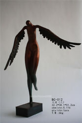 Abstract Art Deco Sculpture Western Nude Angel With Wings Bronze Statue S71