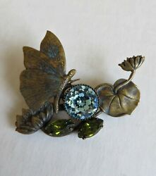Vintage 20s Art Deco Water Lily Pond Pad Flower Butterfly Pin Brooch Brass Glass