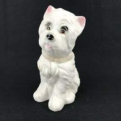 Westie Dog Figurine Pink Collar West Highland White  Terrier