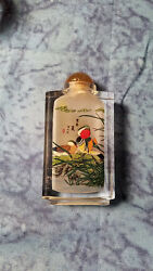 Asian Snuff Bottle With Interior Painting Wood Ducks And Blue Herion