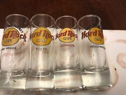 Hard Rock Cafe Tall 4 Shot Glass Red Letters Lasvegas.tokyo.london.hollywood