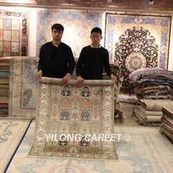 Yilong 4'x6' Four Seasons Silk Hand Knotted Classic Porch Area Rug Carpets 144ab