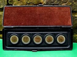 Original Ussr And Russia 5 Coins Set 5 And 10 Rouble Red Book Collection Boxed.