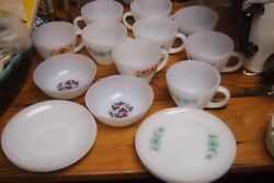 Vintage Lot –16 Pcs –milk Glass Anchor Hocking –cups, Bowls, And Saucers