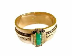 IMPERIAL RUSSIAN YELLOW 14GOLD AND GREEN CHRYSOPRASE HARD GEM STONE  CIRCA 1881