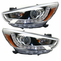 For 12-17 Accent Front Headlight Headlamp Projector Head Lamp W/bulb Set Pair