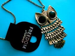 TOPSHOP DARK GOLD LOOK METAL OWL ON CHAIN PENDANT NECKLACE  NEW