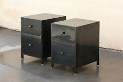 Pair Of Custom Made Industrial Style Steel Night Stands