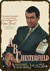 1947 Chesterfield Cigarettes And Jimmy Stewart Vintage Look Decorative Metal Sign