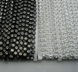 Ss30 A Grade 6mm Clear Glass Crystal Rhinestones Plastic Chain Applique 10yards