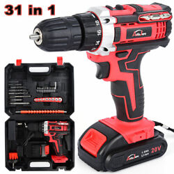 New Power Tool Cordless Drill Li-ion Battery And Charger/driver With Bits Set