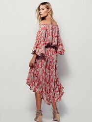 Free People Island Life Maxi Dress Floral Ruffle Off The Shoulder Red pink Sz Xs $99.00