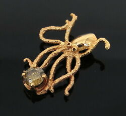 Unique 0.89ct Fancy Brown Yellow Diamond And 18k Rose Gold Giant Octopus Pendant