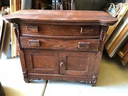 Antique 2-drawer Chest/side Table Distressed Solid Oak Rustic Style/wood Handles