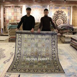 Yilong 5'x8' Blue Classic Handmade Silk Area Rug Porch Hand Knotted Carpets 639b