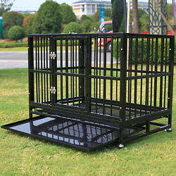 Xl 37 Dog Cage Crate Metal Kennel Pet Playpen House Heavy Duty W/ Trayand Wheels