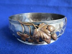 Rare Important Antique C1879 Gorham Aesthetic Movement Mixed Metal Sterling Bowl