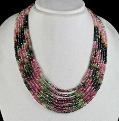 NATURAL MULTI COLOUR TOURMALINE BEADS FACETED 7 L 467 CARATS GEMSTONE NECKLACE