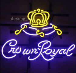 New Crown Royal Beer Wall Decor Light Neon Sign 24x20