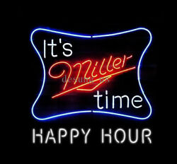 New Itand039s Miller Time Light Happy Hour Logo Beer Neon Sign 24x20