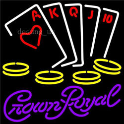New Crown Royal Poker Casino Cards Game Beer Wall Decor Light Neon Sign 24x20