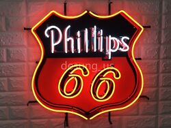 New Phillips 66 Gasoline Artwork Lamp Light Neon Sign 24 With Hd Vivid Printing