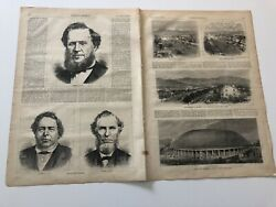 1872 Harpers Antique Print Brigham Young And Salt Lake City Mormon Scenes 42319
